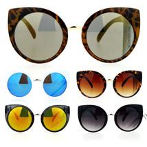SA106 Womens Oversize Cat Eye Round Lens Plastic Diva Sunglasses - $9.95