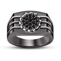 14k Black Gold Finish 925 Pure Silver Round Cut Simulated Diamond Mens Band Ring - $89.50