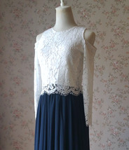 White Lace Crop Top Bridesmaid Separates Lace Top Crop Sleeve Custom Plus Size image 12