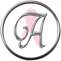 Monogram Alphabet Silver Letter A Subtle Pink Breast Cancer 18MM-20MM Sn... - $5.95