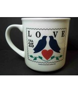 USPS 1990 25c stamp ceramic coffee mug LOVE Birds 10 oz - $5.86
