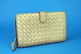 Authentic Bottega Veneta Intrecciato Beige Bifold Wallet Purse Leather I... - $187.11