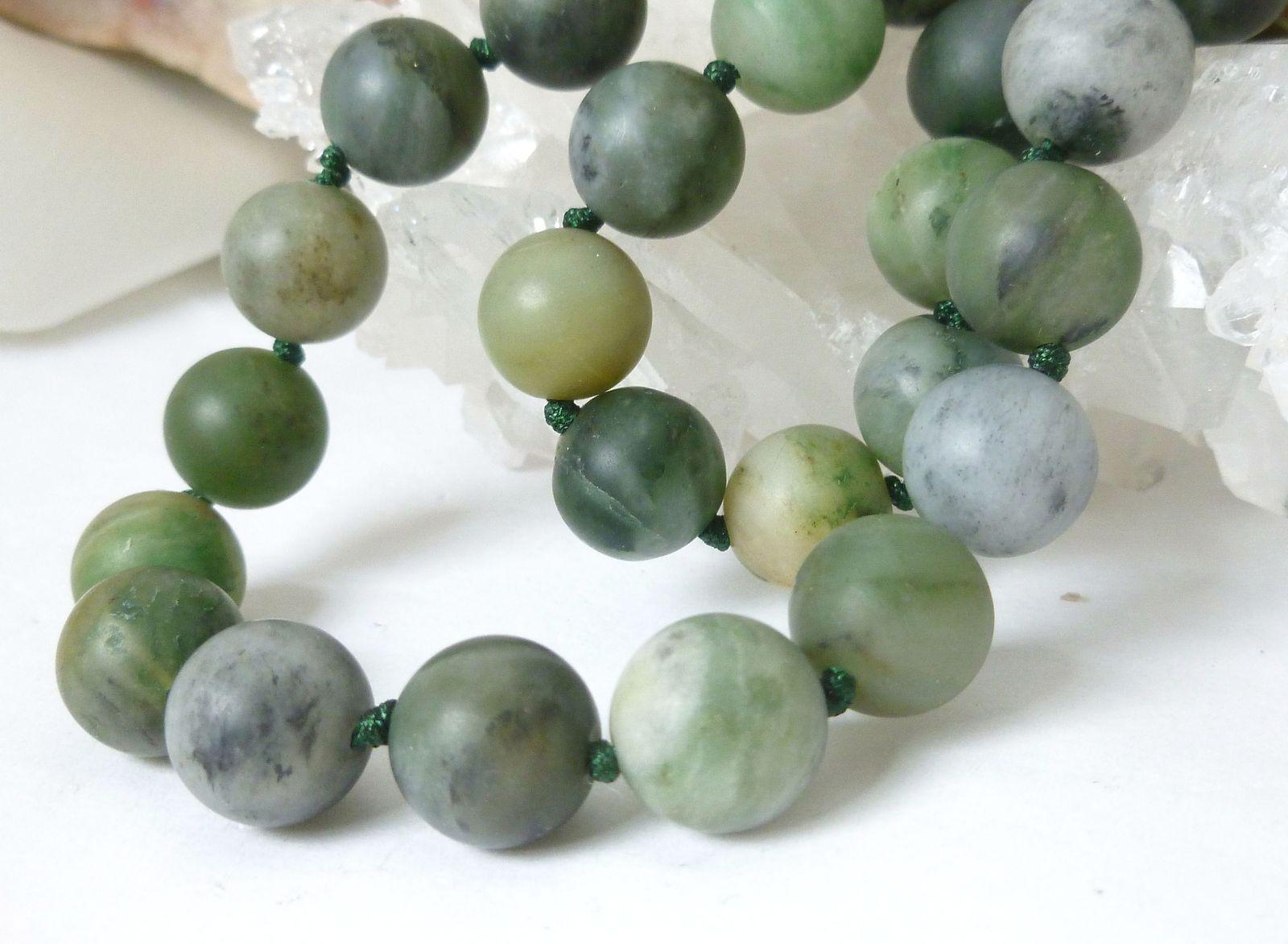 Polar Jade Round Matte 10mm Green Gemstone Necklace 19 inch
