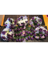 Lot of 5 Wedding Bouquets Never Used 59 Deep Purple Veined Silk Roses Fo... - $40.50