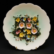 ESD Japan Hand Painted MR7623A 3D Multicolor Flower Wall Hanging Plate - $34.16