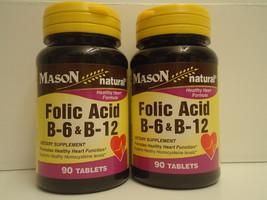 PACK 2 Mason Folic Acid B-6 & B12 Heart Health Formula 90 Tablets per Bo... - $11.63