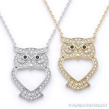 Owl Animal Charm CZ Crystal Luck Pendant & Chain Necklace in 925 Sterlin... - $27.99