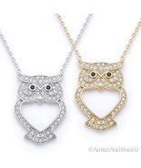 Owl Animal Charm CZ Crystal Luck Pendant & Chain Necklace in 925 Sterlin... - £19.61 GBP