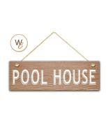 "Pool House Sign, 5.5"" x 17"" Wood Sign, Rustic Home Decor, Beach Decor - $22.77"