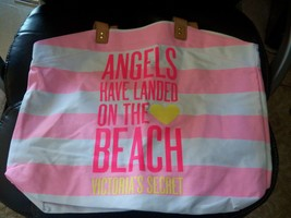Victoria's Secret 2014 Angels Tote Bag Beach Pink Stripes NWT HTF - $32.80