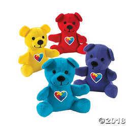 Plush Autism Awareness Teddy Bear - Primary Red