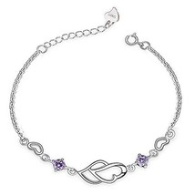 Viyino Women Hearts Love Bracelet, 925 Sterling Silver Adjustable (Purple) - $24.09