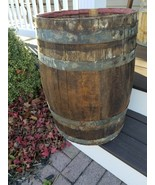 "Antique 21"" Galvanized Banded Wooden Nail Barrel ~ Nice Patina - $79.95"