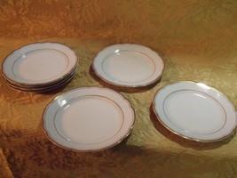 """SEVEN KAHLA SCALLOP EDGE WHITE PORCELAIN GILT TRIM 7 1/2"""" SALAD PLATES - $23.76"""
