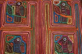 Kuna Abstract Traditional Mola Hand stitched Applique Bird Maze Art Clot... - $56.99