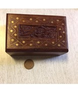 wood dice set in decorative wood box farkle haversack stuffer set number 4 - $10.89