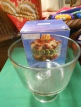 NIB- PRESENTATIONS The Crystal Collection -Tall TRIFLE BOWL on Pedestal - $15.43
