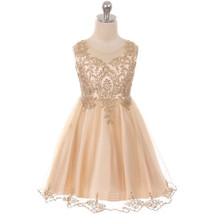 Champagne Satin Stretchable Tulle Bodice Golden Pattern Gold Rhinestone Dress - $69.99+