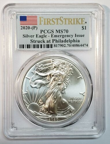 2020 P SILVER EAGLE Dollar $1 EMERGENCY ISSUE PCGS MS70 First Strike Coin C145