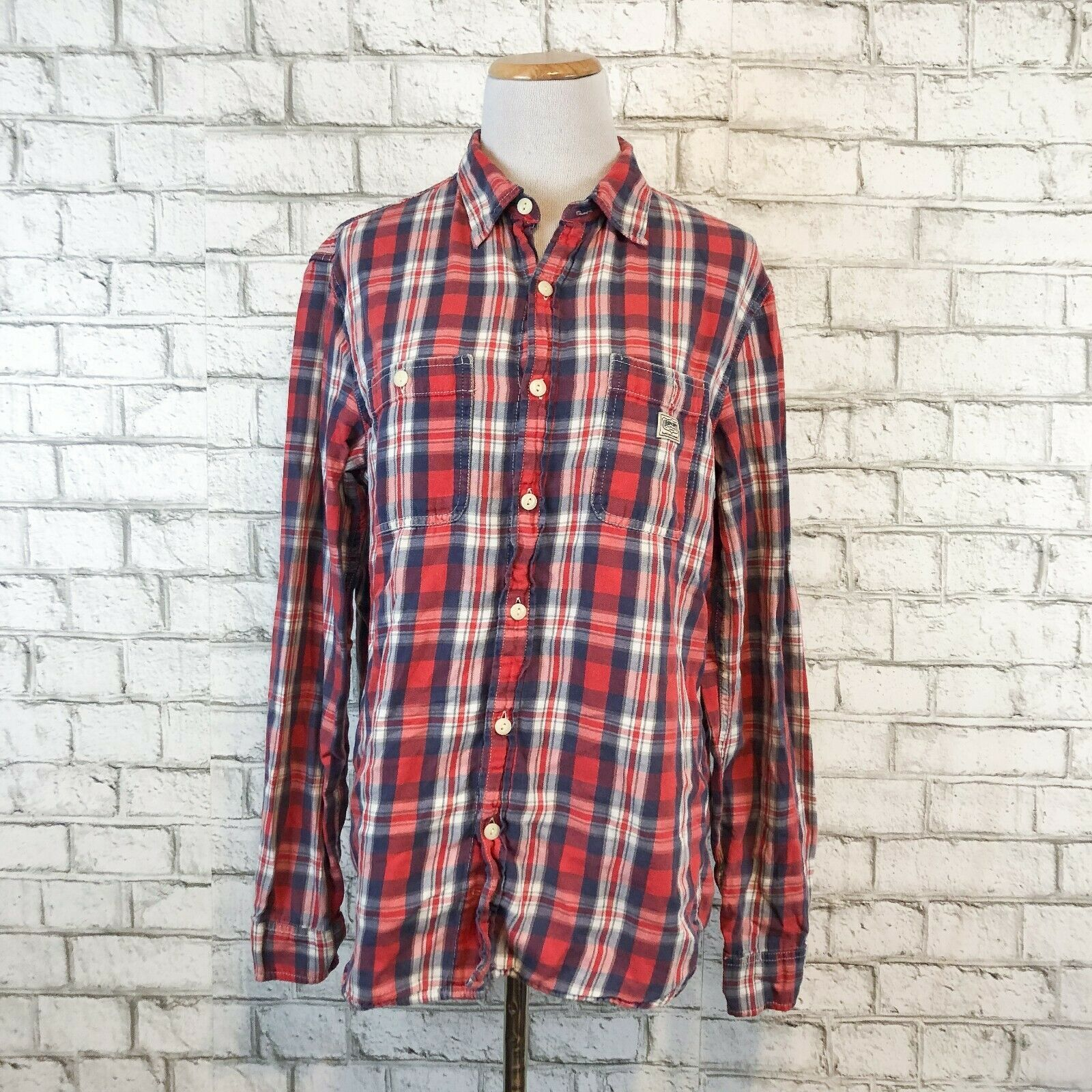Primary image for Denim Supply by Ralph Lauren Women's Red Plaid Button Front Shirt Size Medium
