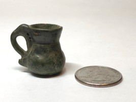 """VTG Ceramic Miniature Vase/Pitcher w/Handle 1""""X1"""" Hand-painted Green Rustic 44 - $8.86"""