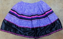 Native American Women Seminole Patchwork Skirt Purple Pink Black Large D... - $49.99