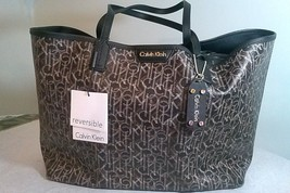 Calvin Klein CK Monogram Reversible Tote black brown key chain wristlet dust bag - $83.25