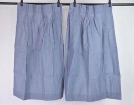 Vtg 80s Retro SEARS Set of 2 Blue Denim & Plaid Curtains Window Drapes 4... - $29.69