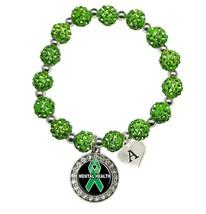 Custom Mental Health Awareness Green Bling Bracelet Jewelry Choose Initial - $13.80+