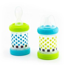 Baby Food Nurser  4 Months Set of 2 4oz 100 Silicone Nipple and Spoon BP... - $20.23