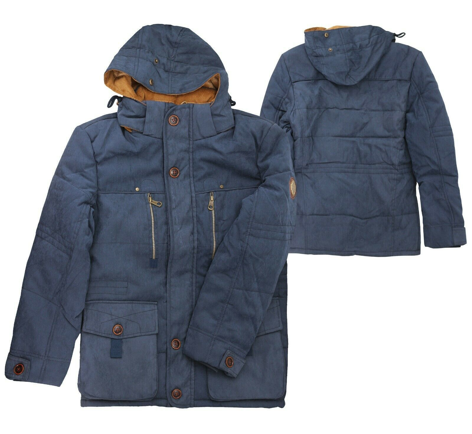 Men's Heavy Weight Sherpa Lined Removable Hood Winter Coat Insulated Navy Jacket