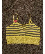Yellow Gray Stripe Bumblebee Lace Cami Bra Adjustable Straps Sz L - $9.99