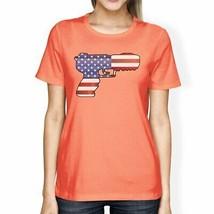 American Flag Pistol Womens Peach T-Shirt 4th Of July Design Tee - $19.30