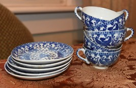 SET 5 PC SET VINTAGE JAPAN PHOENIX BLUE WHITE SMALLER DEMI TEA CUPS & SA... - $59.99