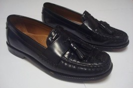 d30d4a8b1 GH Bass Mens Black Tassled Loafers Sz 7.5D Leather Slip On Moc Toe Stitch -