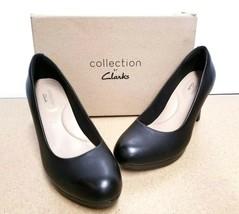 Clarks Womens Adriel Viola Black Leather PUMPS SZ 6.5M - $32.34