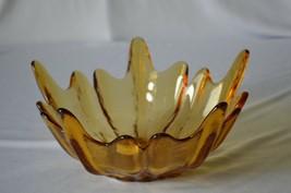 "Viking Stockholm/Lotus Flower/Spiked Amber Bowl 4 5/8"" Tall 10 1/4"" Top ... - $19.80"