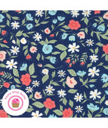 Moda GARDEN VARIETY 5070 12 Navy Blue Floral LELLA BOUTIQUE Quilt Fabric[By t... - $5.75