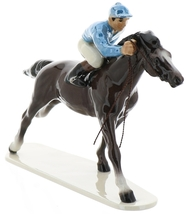 Hagen-Renaker Specialties Large Ceramic Figurine Race Horse with Jockey image 2