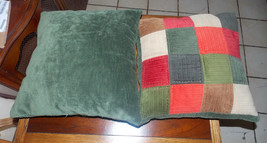 Pair of Green Red Gold Beige Patchwork Pillows / Decorative Pillows  18 ... - $59.95