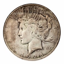 1928 Silver Peace Dollar $1 (Good+ to Very Good, G+ to VG Condition) - $247.49