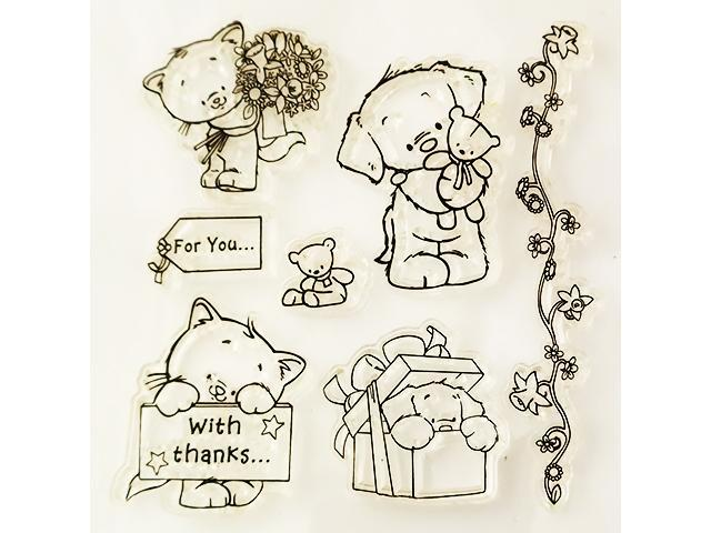 Clear Stamps Cute Pets and Sentiments Clear Stamps, Set of 7