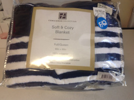 "Concierge Collection Soft & Cozy Blanket , Navy/White, Full/Queen, 90""X90"" - $34.64"