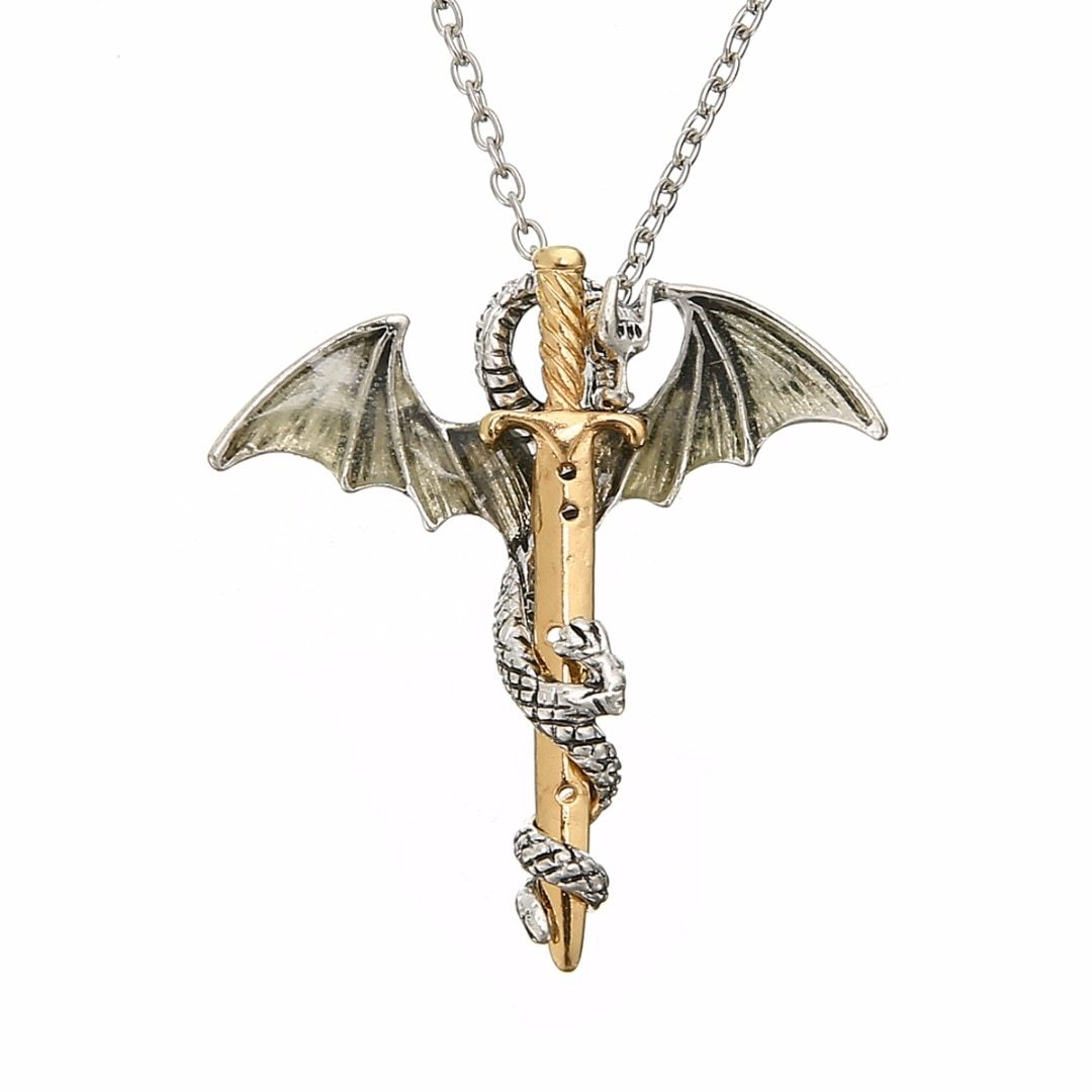Vintage Glow in the Dark Chain Necklaces Shellhard Luminous Sword Dragon Pendant