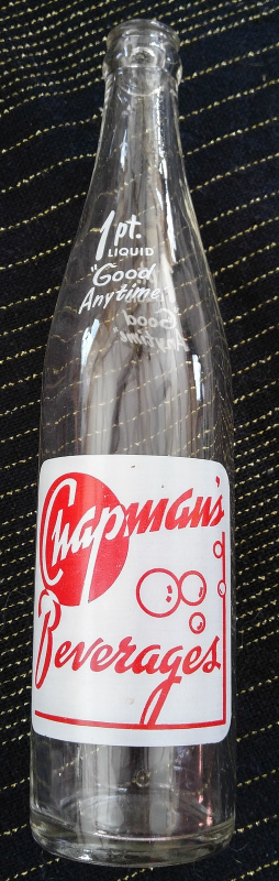 Vintage Chapman's Beverages 1 Pint Soda Pop Bottle from Saginaw, MI - Near Mint