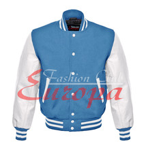 American Unisex White Real Leather Sleeves Letterman College Varsity Wool Jacket - $86.13+