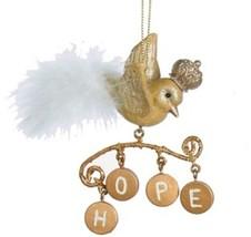 "Kurt Adler 4"" Gold Bird with Dangling Hope Charms Christmas Ornament - $10.63"