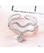 Simple Temperament Wave Double layers Ring Water Drop Pendant Rings For ... - $9.94