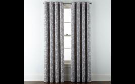 (1) JCPenney Liz Claiborne Quinn Leaf Skyline Gray Grommet Curtain 50x84 Panel - $68.59