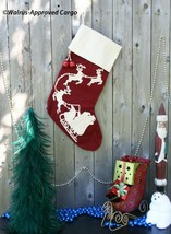 POTTERY BARN CREWEL EMBROIDERED STOCKING W/ SLEIGH BELL -NWT- JINGLE ALL... - $49.95